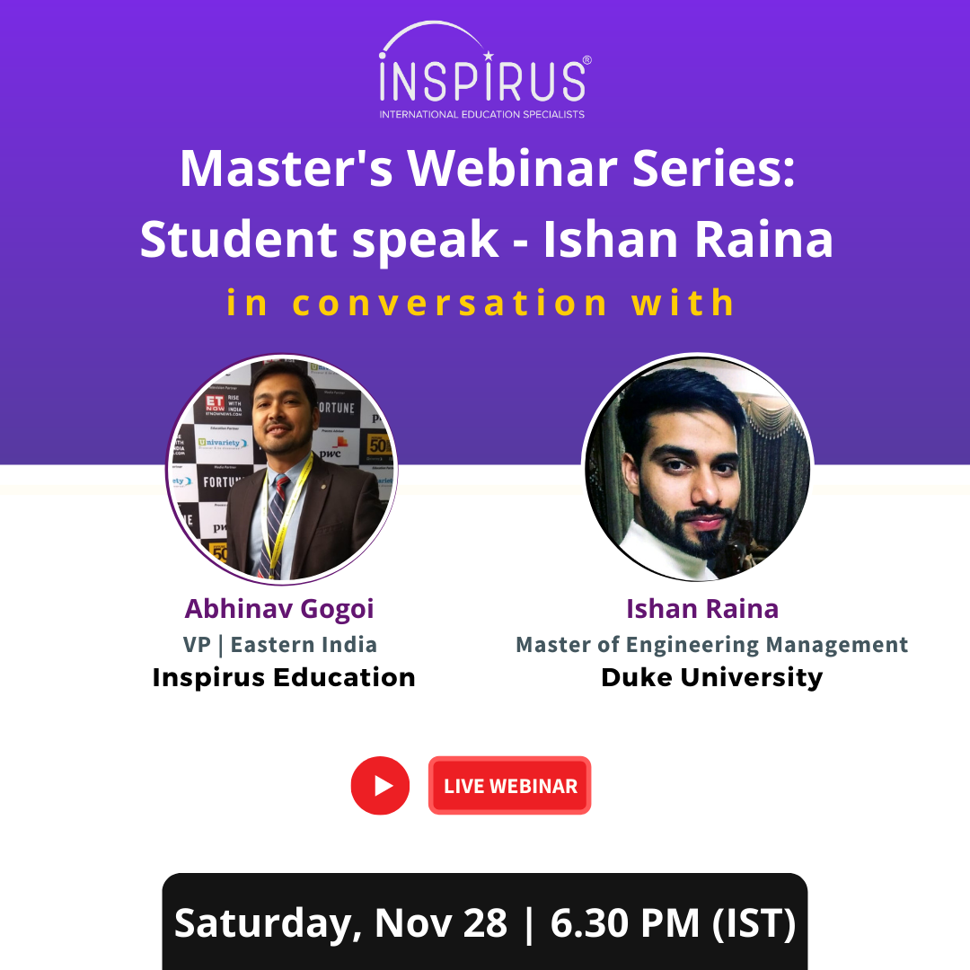 Master's Webinar Series Student speak - Ishan Raina